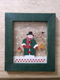 "Painted Snowman on Glass and wood frame..1' x 1'2"" Hanover, 17331"