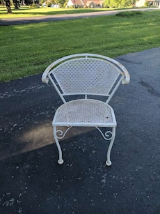 Vintage mesh bottom metal chair