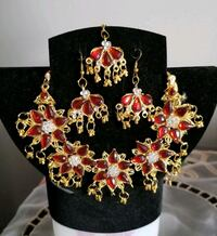 gold-colored and red  earrings with tika  Brampton, L6S