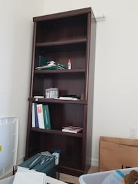 brown wooden bookshelf