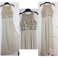 women's beige sleeveless long dress collage