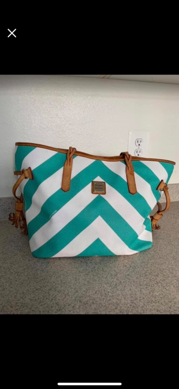green and white striped leather tote bag