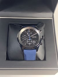 Hugo Boss Men's Chrono Blue Perforated Leather Strap Watch 44mm 151363 Vancouver, 98662