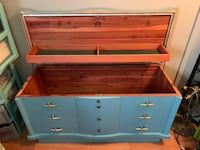 """Lane"" blue oak chest. This piece was made in Virginia. It has the original papers that came with it.Firm price Jefferson, 30549"