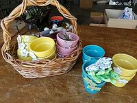 teal, yellow, and pink plastic cups and beige wicker basket Sacramento, 95835
