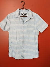 white and gray striped button-up t-shirt London