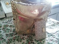 silver MK leather tote bag with wallet