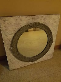 grey and white square framed mirror Palos Hills, 60465