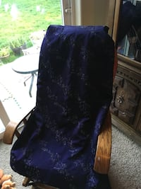 blue and brown rocking chair