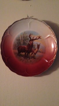 female and male deer round ceramic decorative plate 42 km