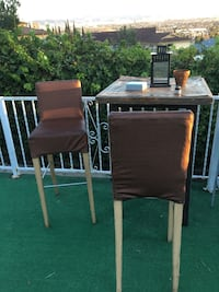 Patio tall square wood table and 2 high brown chairs stools  Culver City, 90232