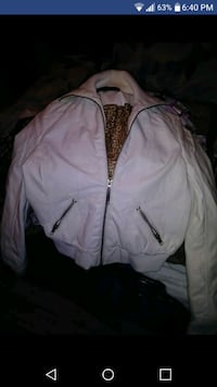White zip up leather jacket