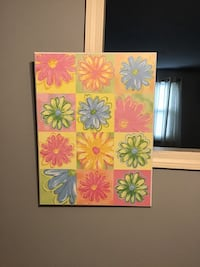 White, pink, and green floral textile painting