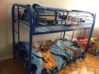 blue metal bunk bed with mattresses Toronto, M1E