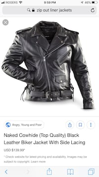 Black leather biker jacket Brantford, N3T 0A8