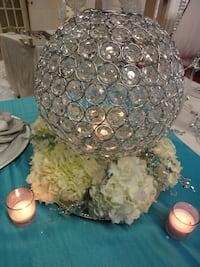 crystal globe Selling the all pieces for event decor see how you can use this piece with flowers Mississauga