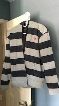 Black and gray striped Polo jacket Burlington, L7M 0K4