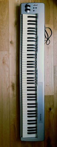 white and black electronic keyboard