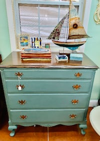 Smokey Blue Gray Solid Wood Dresser Chest of Drawers Rockville