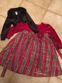 Toddler's red and gray long-sleeve dress size 4