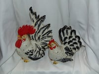 pair of ceramic roosters Edmonton