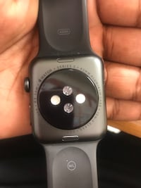 silver aluminum case Apple Watch with black sports band Oxon Hill, 20745