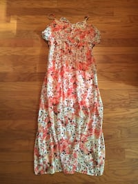 Full length, floral Cato strapped dress.