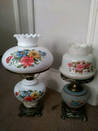 Two beautiful Gone With the Wind ( GWTW )  / Hurricane table lamps.  Manchester, 03104