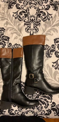 brown-and-black leather knee-high side-zip boots Albany, 12208