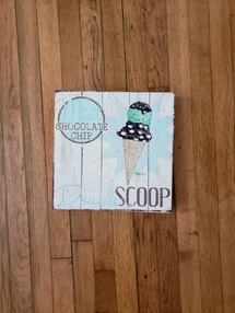 Mint Chocolate Chip Icecream Scoop Painting