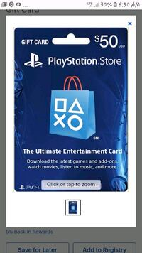 $50 playstation store card  Anchorage, 99507