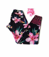 ????OLD NAVY ACTIVE GO DRY PRETTY BLACK PINK FLORAL PRINT LEGGING MEDIUM Riverside, 92507