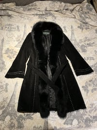 Felicity suede learher coat with Fox Fur Trim New York, 10003