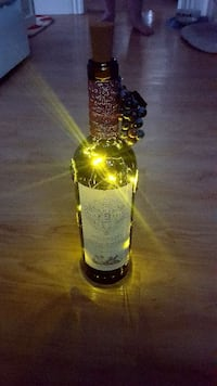 Hand decorated wine bottle