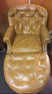 Antique Leather Arm Side Chair with Ottoman  Aventura, 33160