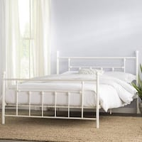 White Queen Iron Platform Bed Washington