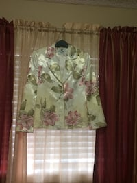 women's white, green and pink floral print blazer