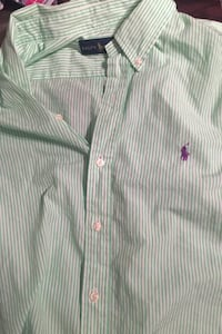 2x Ralph Lauren purple and green dress shirt