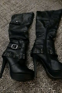 Black knee high boots size 6.5 Vancouver, V6M 1T8