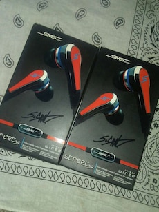 two SMS earphones boxes