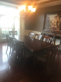 rectangular brown wooden table with chairs dining set Aldie, 20105