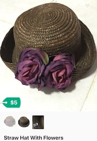Brown straw hat with purple rose flowers
