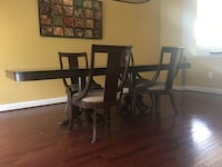 Rectangular brown wooden table with four chairs dining set Linganore, 21774