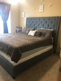 LAST 2 WEEK SALE! Great Condition 6 Piece White King Bedroom Set including Mattress & Boxspring; Dresser Mirror new in the box & 2 Lava Lamps; Pick Up Only 1210 mi