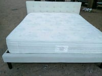 white wooden bed frame with white mattress El Paso, 79934