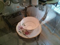 white-and-pink floral ceramic tea cup with coaster New York, 11422