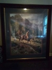 brown wooden framed painting of man and woman Tulsa, 74112
