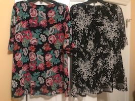 2 Colorful XL Women's Tops-lined