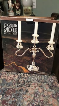 silver plated three  light candleabra