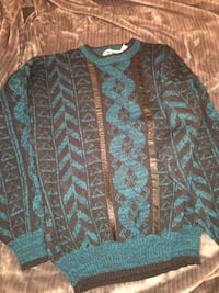 black and blue knitted sweater
